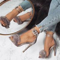 Fur Sandals Ankle Strap High Heels Crossdresser Drag Queen Snake Print Shoes