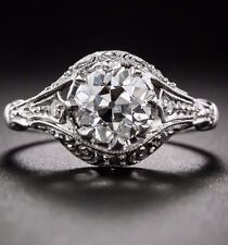 1.60 Ct  Edwardian/Antique Style Genuine Natural Diamond Engagement Ring VS2 F