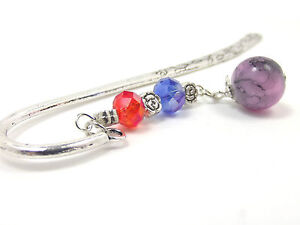 Bookmark Antiqued Silver Look Unique Design Resin Rhinestone Purple Charms