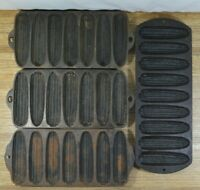 LOT of 4 Vtg Cast Iron Corn Bread Stick Pans Griswold Wagner Lodge Made in USA