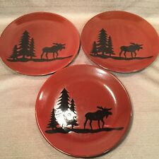 "Set of 3 (D.E.I.) DENNIS EAST INT'L. STONEWARE WOODLAND MOOSE 11"" DINNER PLATES"