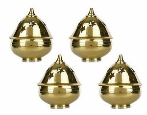 A Set Of 4 Brass Apple Shape Akhand Diya With Designed Star Holes On Top