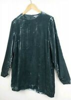 Cos Olive Green Crushed Velvet Tunic Top Size UK 10 EU 38 Ruched Swing Pockets