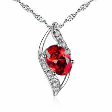 925 Sterling Silver 0.78ct Lab Red Oval Cut Ruby Necklace GEMSTONE Leaf Pendant