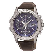 SSC141P2  NEW Seiko Gents Solar Alarm Chronograph Leather Strap Watch