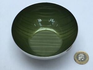 Beautiful Cathrinholm Norway Striped Green Enamel Stainless Steel Small Bowl MCM