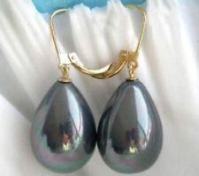 AAA+++ 14X16MM BLACK shell pearl earrings 14K GOLD