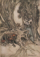 Lady Goblin Man Hobo Tree Roots Home Comus Arthur Rackham c1921 Tipped-In Print
