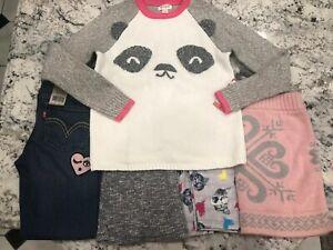 Lot 5 Girls Levi's 710 Skinny Jeans, Leggings, bell bottoms & Panda Sweater 7/8