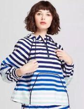 Hunter for Target Rain Jacket Blue White Striped Half Zip Hooded Size XS NWOT