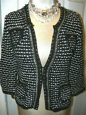 WHITE HOUSE BLACK MARKET sz M -CHECKERED SWEATER JACKET-SUPER VERSATILE NWT $148