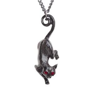 ALCHEMY BLACK CAT SITH PENDANT Fairy Witches Familiar Red Swarovski +FREE POUCH