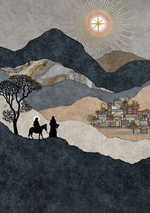 Bug Art Christmas card embossed foil/jewel effect - 'Mary and Joseph' -  SINGLE
