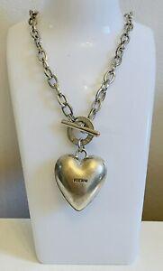 PILGRIM Danish Design Silver Plate Chunky Link Chain Love Heart Pendant Necklace