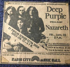 Deep Purple Nazareth Concert Ad 1-23-76 New York