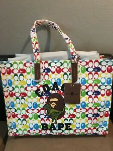 NWT Coach x Bape tote 47 signature canvas ape head chalk multi limited edition