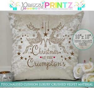 Personalised Reindeer Cushion Christmas Gift Mr Mrs Wedding Cream Crushed Velvet