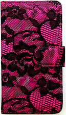 Pink Lace Wallet Purse PU Leather Case Samsung Galaxy Note 3 III N9000