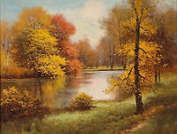 Beautiful art oil painting nice autumn landscape river cross the forest canvas