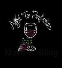AGED TO PERFECTION WITH WINE GLASS AND GRAPES RHINESTONE IRON ON HEAT TRANSFER