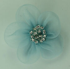10 X Organza Flowers Sew On Appliques Colour: Light Blue with silver beaded   #1