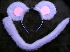 Mouse Ears And Tail Lilac And Pink Instant Animal Fancy Dress Costume Dress Up