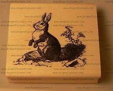 Victorian style bunny, rabbit rubber stamp WM P39