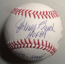 Johnny Bench Cincinnati Reds Autographed 11 Inscription STAT MLB Baseball w/JSA