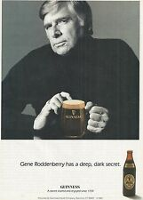 Gene Roddenberry Photo Guinness Stout Vintage 1985 Print Ad Deep Dark Secret
