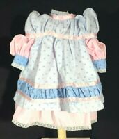 "Pink Dress with Detachable Blue Apron and Bloomers for 10"" Doll"