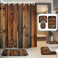 4Pcs / Set Holz Tür Wasserfest Bad Duschvorhang Rutschfest Matten Toilette