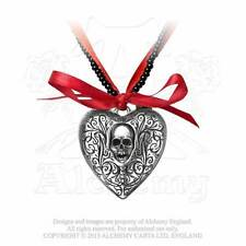 Gothic Herz Anhänger zum öffnen Heart Skull Totenkopf Amulett WGT ALCHEMY P496