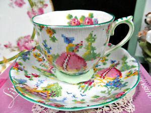 ROYAL ALBERT tea cup and saucer Lady Gay pattern teacup chintz pink rose England