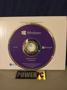 New Genuine Microsoft Windows 10 Pro Professional 64 bit DVD+Product License Key