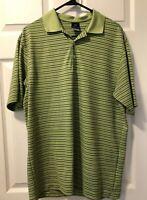 Mens Nike Golf Dri Fit UV Green Blue Horizontal Striped  S/S Polo Shirt Size L