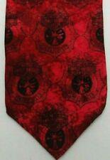 Men's Neck Tie Harley Davidson Firefighter Badge Collectible Novelty Red Black