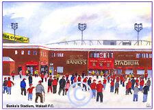 "WALSALL F.C. BANKS'S STADIUM WATERCOLOUR ARTISTS PRINT CARD 8""x 6"" FREE POST"