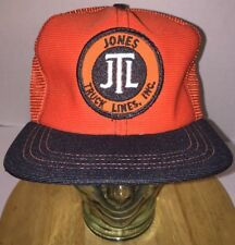 VTG JTL Jones Truck Lines INC 70s 80s Hunter Orange Trucker Hat Cap Snapback USA