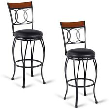 Set Of 2 Vintage Bar Stools Swivel Padded Bistro Seat Kitchen Dining Pub Chair