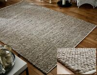 SMALL - LARGE THICK BEIGE MINK TAUPE PEBBLES BOBBLES 100% WOOL 3D RUG CLEARANCE