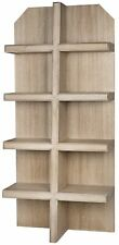 """87"""" T Wooden Bookcase Modern Washed White Solid Walnut Wood Cut Corner Top"""