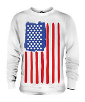 STARS AND STRIPES PAINTED FLAG POP ART UNISEX FASHION PRINT SWEATER TOP USA SWAG