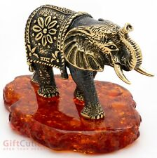 Solid Brass Amber Figurine of the African Elephant talisman IronWork