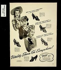 1942 Vitality Shoes Go Everywhere Vintage Print Ad 015914