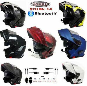 Motorradhelm mit Bluetooth Klapphelm Touren VIPER V171 Modularhelme, Alle Farbe