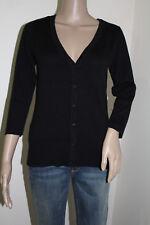 AB Studio Women's 3/4 Sleeve Black V-Neck Cardigan 100% Cotton NWT Size SMALL