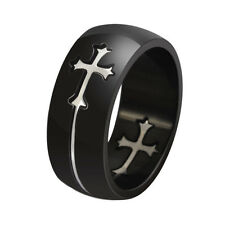 Separable Cross Ring for Men Woman Black Color Stainless Steel Cool Male Design