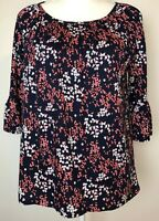 Michael Kors Blouse Size S Navy Blue Pink White Floral Boat Neck Bell Sleeves