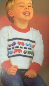 """Childs Jumper with Cars DK 20""""-24"""" Vintage Knitting Pattern C64"""