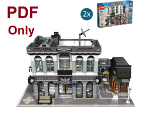 Custom Modular Brick Bank with Coffee Shop for Lego 10251 PDF Instructions-Only